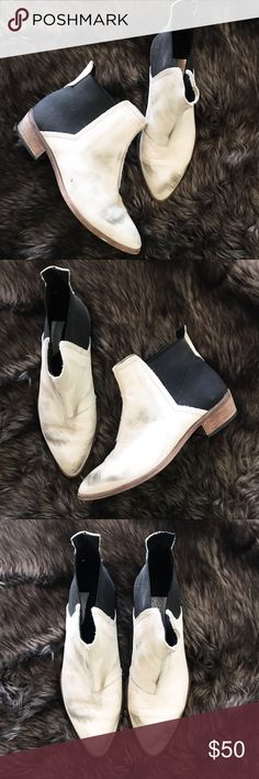 "Free people black and white booties Super cute distressed black and white free people booties! The ""scuffs"" are the style and that's how I bought them! Very stylish and has lots of love to give! Free People Shoes Ankle Boots & Booties"