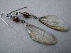 Cicada wing earrings in sterling with bling by bijousavvy on Etsy, $45.00