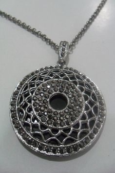 marcasite stone medallion necklacesilverplated by aydam on Etsy, $30.00