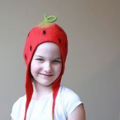 Strawberry hat - kid hat - felted wool baby children hat - red green hat