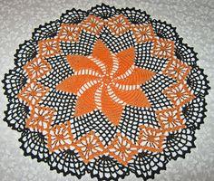 """Crochet Halloween Doily, 15"""", Round, Orange & Black, round, pinwheel design"""