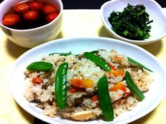 詳しくはプロフィールのDE-OILブログで - 10件のもぐもぐ - 野菜づくし 混ぜ寿司・トマトのお吸い物・春菊の胡麻和え by Yoko Hayashi