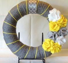 Spring/Summer Wreath  12 Gray Yarn Wrapped Wreath by JBeanCrafts, $20.00