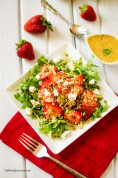 Strawberry Arugula Quinoa Salad with Sweet Lime Vinaigrette- Holy Yumminess!