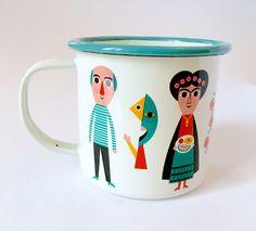Enamel cup Artists by Ingela P Arrhenius for Omm Design, with Picasso, Frida Kahlo, Salvador Dali, Andy Warhol and Vincent van Gogh