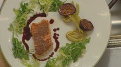 Salmon Baked in Clay with Braised Fennel, Roasted Figs and Arugula Salad
