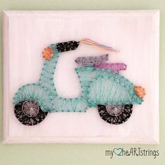 Life is a crazy, beautiful ride! 💖   New design and ready to ship: $22/shipped- leave PayPal  #stringart #scooter #thosestreamers #handmade #handmadeisbetter #lifeisabeautifulride #vespa #etsy #etsyshop #etsyseller #home #cute #decor #fun #nailart #diy #craft