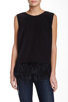 Madison Marcus   Ostrich Feather Trim Silk Blouse   Nordstrom Rack