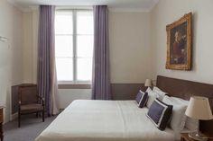 Authentic hotel - Saint Germain des Prés Paris - Hotel des Saints Pères - Esprit de France - #espritdefrance Paris Hotels, Saints, Curtains, Home Decor, Blinds, Decoration Home, Room Decor, Draping, Home Interior Design
