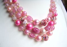 Pink glass bead necklace 1950s swirl beads by AntiqueAddictions, $21.99