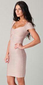 Herve Leger Cap-Sleeve Bandage Dress Bare HDR306 Sale