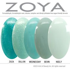 No Dupes! Zoya Nail Polish in Dillon, Zuza, Wednesday, Bevin, and Neely compared