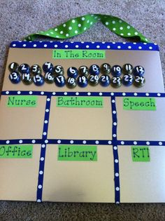 This is an easy way to keep track of where students are during the school day. This is especially helpful when there is a fire drill or lock down.