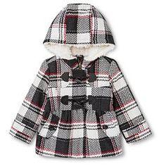 Weather Tamer Infant Toddler Girls' Plaid Toggle Peacoat Black/White