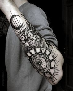 amazing-mens-incredible-outer-forearm-sun-and-moon-tattoo-designs
