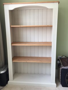 An old pine bookcase updated with Egyptian cotton and plaster of Paris instead of using Annie Sloan chalk paint. Amazing result!!