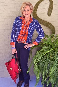 Fashion over 40 Pattern Mixing, Plaid & Dots @50isnotold.com