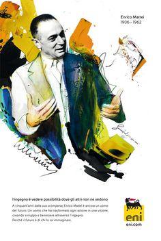 Enrico Mattei's portrait by Spiros Halaris by Machas , via Behance