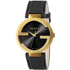 Gucci Women's Interlocking G Stainless Steel Watch (€1.035) ❤ liked on Polyvore featuring jewelry, watches, black, stainless steel watches, gucci wrist watch, interlocking jewelry, gucci and leather-strap watches