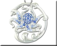 Sterling Silver Graduated Blue Sapphire Octopus Pendant