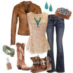 Ideas For Brown Cowboy Boats Outfit Jeans Turquoise Country Style Outfits, Country Girl Style, Country Fashion, Country Western Outfits, Country Chic Clothing, Cowgirl Outfits For Women, Cowgirl Clothing, Country Jewelry, Cowgirl Fashion