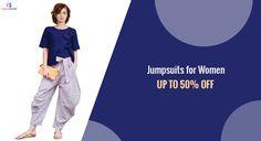 Buy #Women #jumpsuits Online with best deals | fingoshop.com Party Wear For Women, Western Wear For Women, Best Online Shopping Sites, Jumpsuits For Women, Pajama Pants, Rompers, Stylish, Best Deals, How To Wear