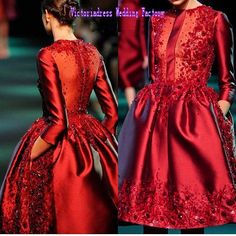 >> Click to Buy << Vestidos De Noche Sparkly Red Beaded Prom Dresses With Sleeves Lace Short O Neck Closed Back Women Cocktail Party Gowns 2017 New #Affiliate