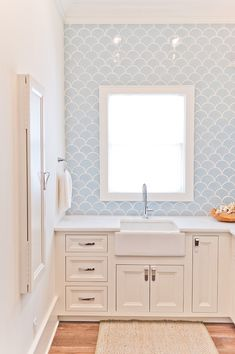 House of Turquoise: Dove Studioconsider these tiles in main bathroom Coastal Bathrooms, Bathroom Inspiration, Restroom Remodel, Bathrooms Remodel, Bathroom Makeover, Girls Bathroom, Grey Laundry Rooms, Bathroom Renovations, Bathroom Design