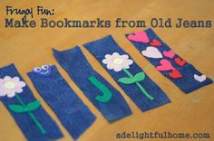 make bookmarks from old jeans - I just cut off some holey-knee jeans into shorts for Missy and have been trying to figure out what to do with the shins of the jeans - now I know!! :)