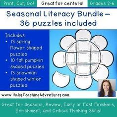 Seasonal Centers: Includes Summer Activity Flowers | Distance Learning Packet | 2nd, 3rd, 4th, 5th grade, Activities, English Language Arts, Games, Grammar, Holidays/Seasonal, Homeschool, Literacy Center Ideas, Middle School Shape Puzzles, Maths Puzzles, Irregular Nouns, Teaching Reading, Learning, Grammar Activities, Teaching Resources, Fast Finishers, Synonyms And Antonyms