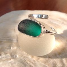 I LOVE the colour of this piece. It just glows #seaglass #twistring #greenseaglass #seaglassring #sterlingsilver