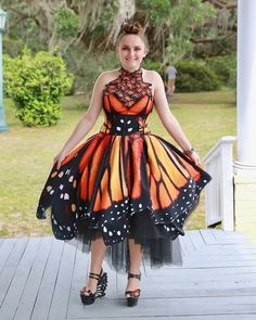 Items similar to Evening / Prom / Party Monarch Butterfly Dress on Etsy Butterfly Fashion, Butterfly Dress, Monarch Butterfly, Butterfly Wings, Butterfly Shoes, Halloween Fashion, Halloween Dress, Stunning Dresses, Pretty Dresses