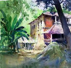 art+Milind+Mulik+Watercolor+Landscape.jpg (530×507)