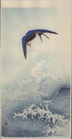 Ohara Koson: Swallow over the Ocean Wave - Art Gallery of Greater Victoria Japanese Drawing, Japanese Woodcut, Japanese Painting, Ohara Koson, Art Asiatique, Art Japonais, Wave Art, Japanese Prints, Japan Art