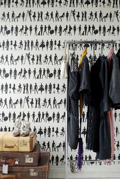 Who said a skeleton wardrobe can't look fantastic in a room! (Fashion Wallpaper by Ferm Living eclectic wallpaper) Moda Wallpaper, Ferm Living Wallpaper, Closet Wallpaper, Eclectic Wallpaper, Designer Wallpaper, Graphic Wallpaper, Retro Wallpaper, Bedroom Wallpaper, Wallpaper Samples
