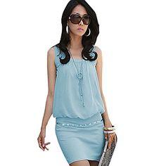 blues kvinder v hals ensfarvet Bodycon kjole – DKK kr. 45