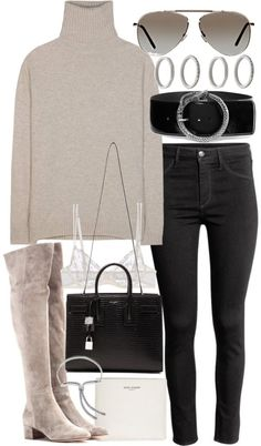 Untitled #20484 by florencia95 featuring Tom Ford Jardin des Orangers turtle neck sweater / H&M ankle jeans, 13 AUD / La Perla white bra, 72 AUD / Gianvito Rossi over knee boots / Yves saint laurent bag, 3 935 AUD / Forever 21 band jewelry, 5.00 AUD...
