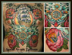 #tattoo #traditional #ink #color #colortattoo #pirateship #roses #water #shading #chest #detail #jasonavery #jasonaverytattoo #berlin #berlintattoo #germany