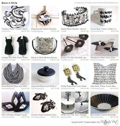 Vintage, repurposed, upcycled, recycled black and white Etsy finds!