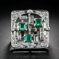 Mid-Century Modern Emerald and Diamond Cocktail Ring