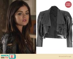 Aria's shredded leather jacket on Pretty Little Liars. Outfit Details: http://wornontv.net/25465 #PrettyLittleLiars #fashion #PLL