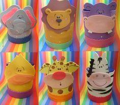 latas decoradas30 Safari Theme Birthday, Safari Party, Circus Party, Foam Crafts, Diy And Crafts, Crafts For Kids, Craft Foam, Milk Box, Recycle Cans