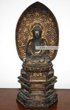 Antique Large Zushi Wooden Japanese Buddha Buddhist Altar Shrine Edo Period Statues photo