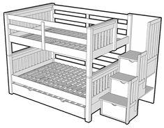BED-LIT.COM : DD-GID-ESD : Sélecteur de modèles de lit superposé en pin massif : Lit superposé double-double avec lit gigogne format double sous le lit inférieur et escalier d'accès au lit supérieur