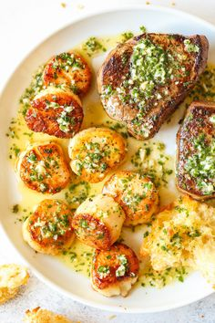 Garlic Butter Steak and Scallops - SURF AND TURF made in less than 30 min! The steak + scallops are so perfectly cooked with the best garlic butter sauce! dinner for two Garlic Butter Steak and Scallops Steak And Scallops Recipe, Steak And Shrimp, Garlic Butter Scallops Recipe, Steak Butter, Butter Sauce, Keto Steak Recipe, Steak Recipes, Sauce Recipes, Cuban Recipes