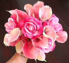 Natural Touch Pink Roses and Calla Lilies Bouquet Stargazer Lily Bouquet, Calla Lily Flowers, Peonies Bouquet, Calla Lilies, Pink Peonies, Silk Wedding Bouquets, Wedding Flowers, Blush Roses, Pink Roses