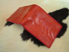 ostrich Leg skin  leather  Biflod wallet  red scarlet  by Ossora