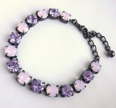 swarovski tennis bracelet purple and pink violet by siggysbeads, $40.00