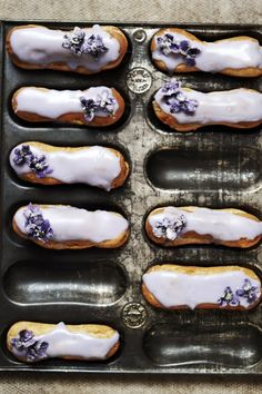 Violet and lemon eclairs.