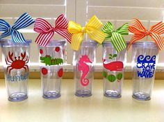 Items similar to Personalized Summer,Beach Tumblers- Monogrammed Cups & Gifts on Etsy Silhouette Vinyl, Silhouette Machine, Silhouette Cameo Projects, Vinyl Crafts, Vinyl Projects, Cute Gifts, Diy Gifts, Vinyl Monogram, Cricut Creations